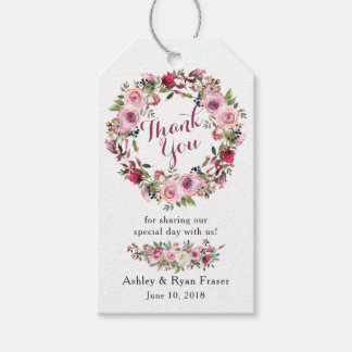 Purple Pink Chic Rose Floral Wedding Thank You Gift Tags