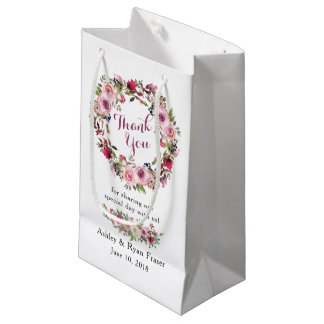 Purple Pink Chic Rose Floral Wedding Thank You Small Gift Bag