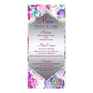 Purple Pink Colorful Modern Floral Wedding Menu