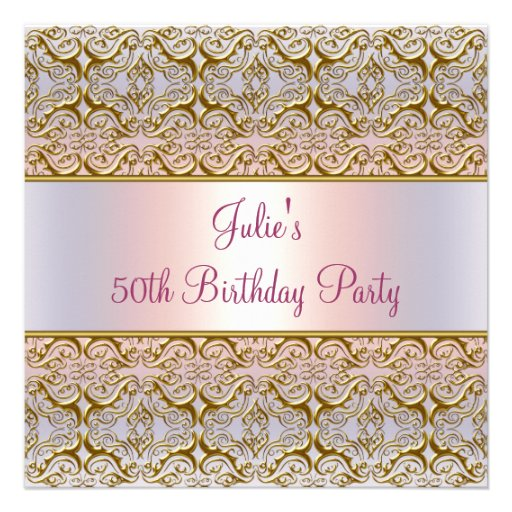 Purple Pink Damask Womans 50th Birthday Party Personalized Invite