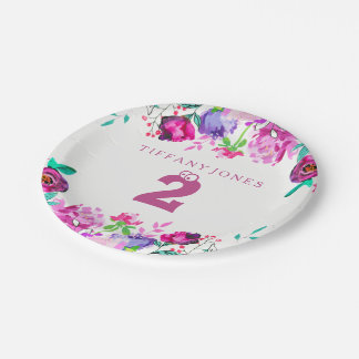 Purple Pink Floral Girl 2nd Birthday Party Plate
