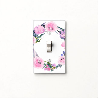 Purple Pink Floral Wreath Watercolor Elegant Chic Light Switch Cover
