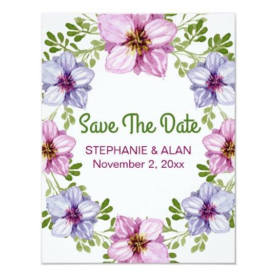 Purple Pink Floral Wreath Wedding Card