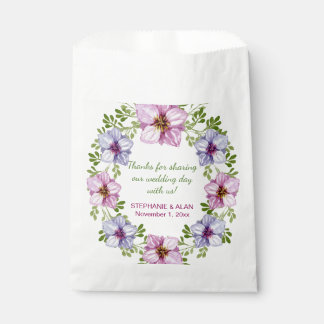 Purple Pink Floral Wreath Wedding Favour Bags