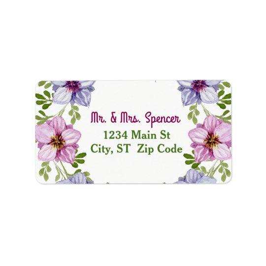 Purple Pink Floral Wreath Wedding Label