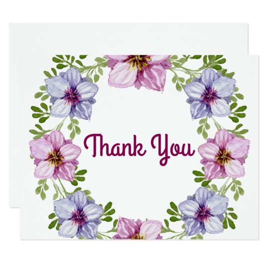 Purple Pink Floral Wreath Wedding Thank You Card