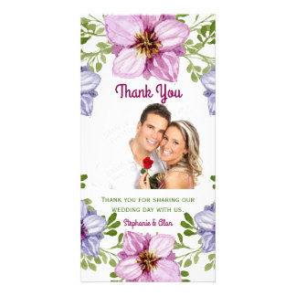 Purple Pink Floral Wreath Wedding Thank You Photo Cards