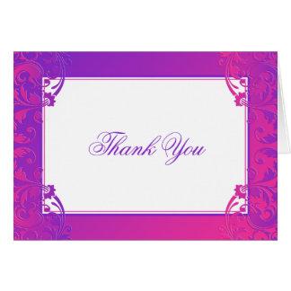 Purple Pink Flourish Bat Mitzvah Thank You Card