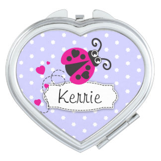 Purple pink flower polka dots name ladybug mirror travel mirror