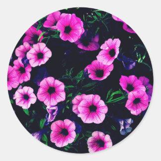 Purple pink flowers classic round sticker
