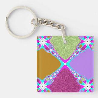 Purple Pink Fractal Single-Sided Square Acrylic Keychain