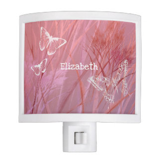 purple pink girl's butterfly room personalized night lite