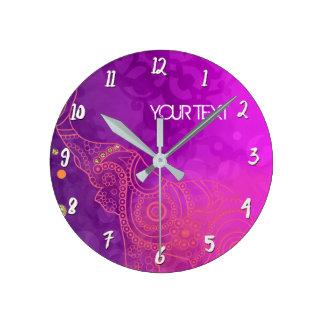 Purple Pink Glam Elephant Personalized Custom Round Clock