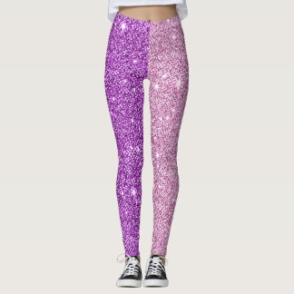 Purple+Pink Glitter Athleisure Yoga Pants Leggings