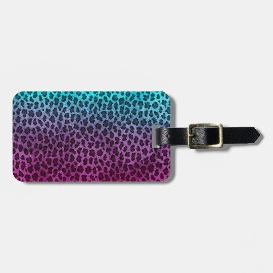 Purple Pink Green Cheetah Print Bag Tag