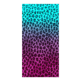 Purple Pink Green Cheetah Print Custom Photo Card