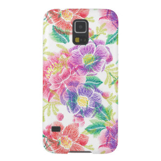 Purple Pink & Green Flowers Pattern D3 Galaxy S5 Case