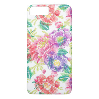 Purple Pink & Green Flowers Pattern iPhone 8 Plus/7 Plus Case
