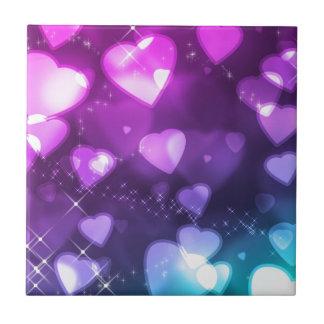 Purple Pink Hearts Tiles