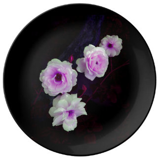 Purple Pink Hue with White Flowers Porcelain Plate