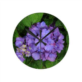 Purple pink hydrangea flower in bloom 2 wall clocks