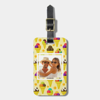 Purple & Pink Ice Cream Cones | Add Your Photo Luggage Tag