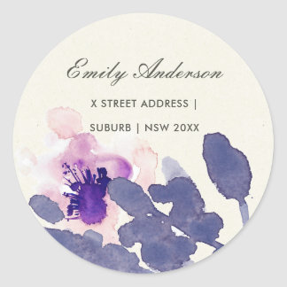 PURPLE PINK INK WASH WATERCOLOR FLORAL ADDRESS CLASSIC ROUND STICKER