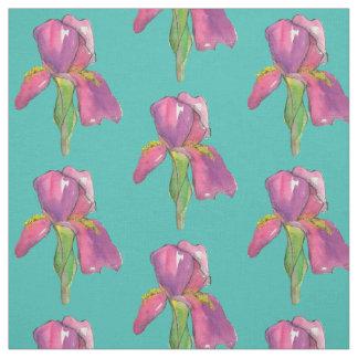 Purple Pink Iris Turquoise Fabric