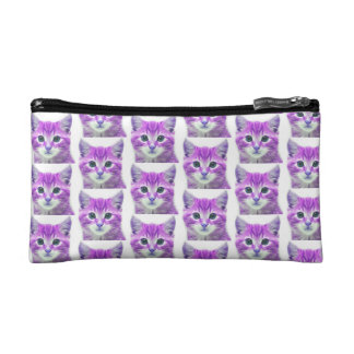 PURPLE PINK KITTEN KITTY CAT COSMETIC BAG