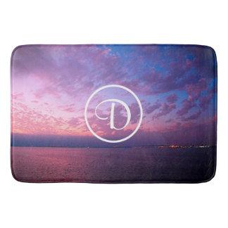 Purple pink ocean sunset photo custom monogram bath mat