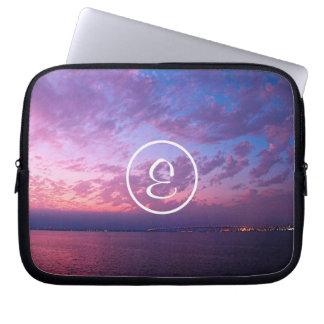 Purple pink ocean sunset photo custom monogram laptop sleeve
