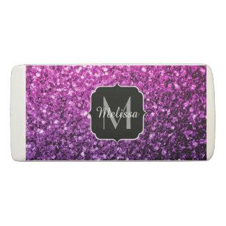 Purple Pink Ombre glitter sparkles Monogram Eraser