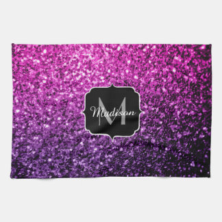 Purple Pink Ombre glitter sparkles Monogram Kitchen Towel