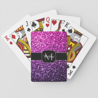 Purple Pink Ombre glitter sparkles Monogram Playing Cards