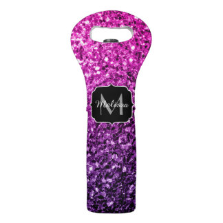 Purple Pink Ombre glitter sparkles Monogram Wine Bag