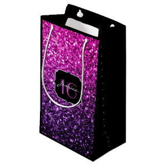 Purple Pink Ombre glitter sparkles Sweet 16 Small Gift Bag