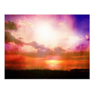 Purple Pink Orange Sunset Photo Edit Postcard