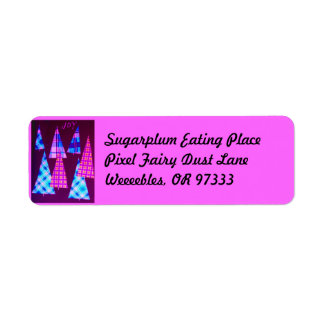 Purple Pink Plaid Trees Return Address Label