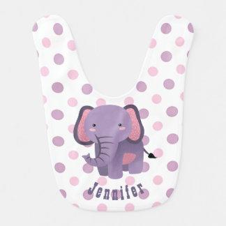Purple Pink Polkadot Elephant Bib