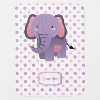 Purple Pink Polkadot Elephant Personalized Baby Blanket