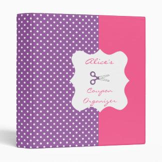 Purple&Pink PolkaDot Personalized Coupon Organizer 3 Ring Binder