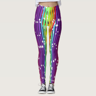purple pink rainbow star womens leggings