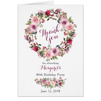 Purple Pink Rose 80th Birthday Thank You Card
