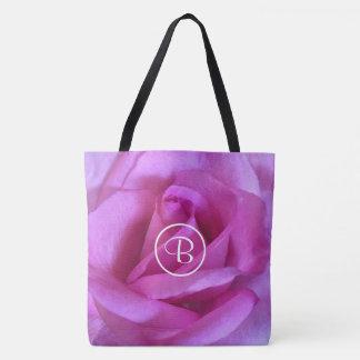Purple pink rose close-up photo custom monogram tote bag