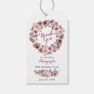 Purple Pink Rose Floral 80th Birthday Thank You Gift Tags