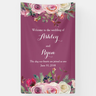 Purple Pink Rose Floral Wedding Welcome Banner