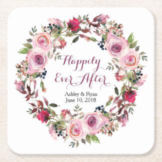 Purple Pink Rose Floral Wreath Wedding Square Paper Coaster