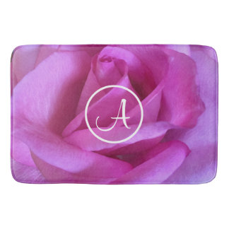 Purple pink rose photo custom monogram bath mat