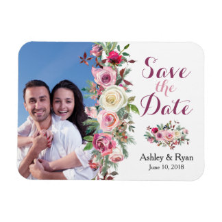 Purple Pink Rose Photo Wedding Save the Date Magnet