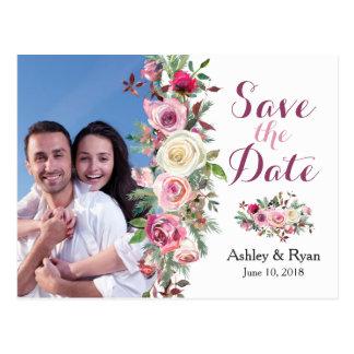 Purple Pink Rose Photo Wedding Save the Date Postcard
